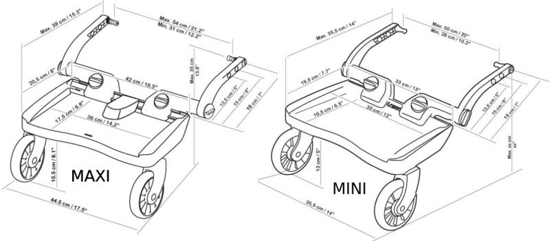 test de la planche à poussette Buggy Board Lascal Mini vs Maxi