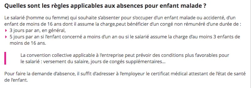absence congé enfant malade informations
