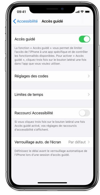 Activation de l'accès guidé sur iOS