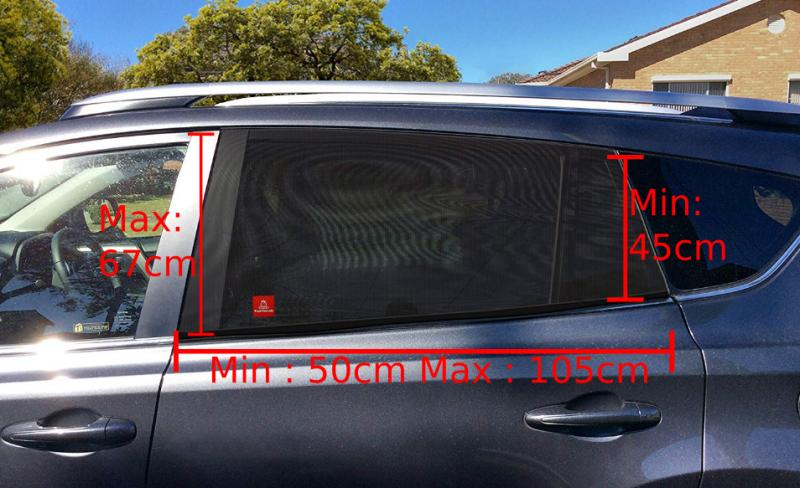 Dimensions d'une fenêtre pour le pare soleil chaussette Royal Rascals