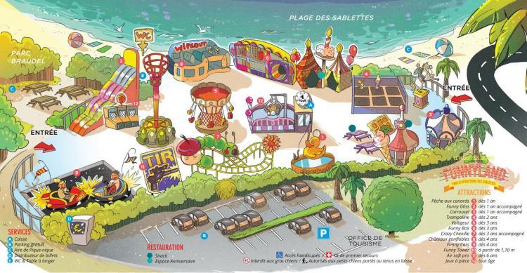 Plan du parc Funnyland des Sablettes