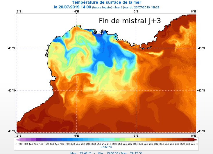 Carte des températures de la mer méditerranée un lendemain de mistral
