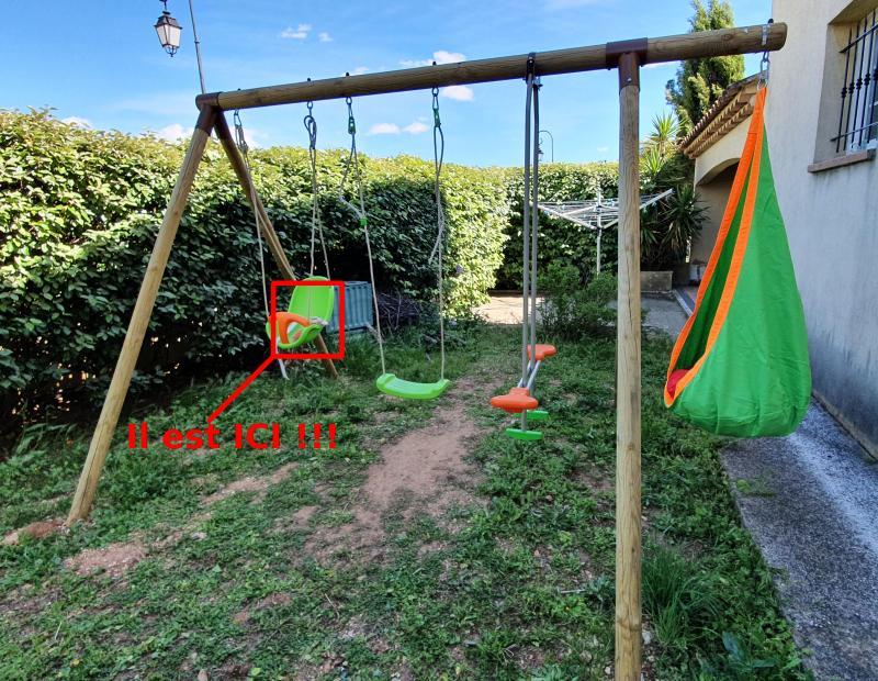 Doudou perdu dans le jardin
